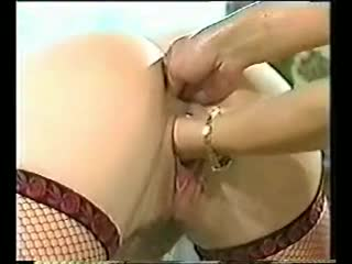 A good double fisting for girl in fishnets