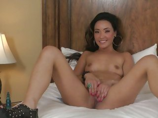 Saucy Miko Sins plays with her favorite dildo