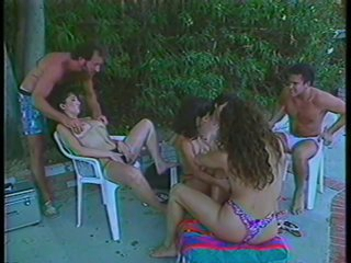 3 Hairy Babes Fucking and Swallowing Hot Cum By The Poolside