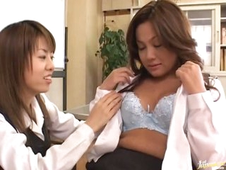 Asian Lesbians Find a Dick To Play With