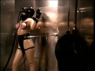 Bound Submissive Lesbian Slut Paige Richards Wears a Gas Mask