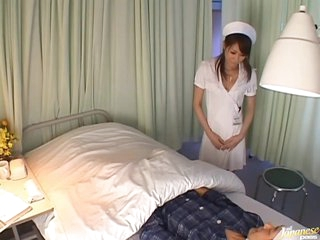 Wild Asian Nurse Fingers Her Pussy and Gets Her Ass Covered With Cum