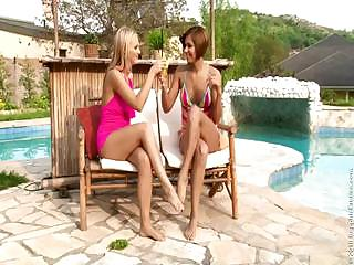 Sexy Lesbians Licking Their Pussies On Poolside