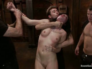 Aria Aspen is a fuck toy for James Deen. Mr Pete. Christian Wilde. Michael Bridalveil and Richie Calhoun in this scene. They bang her ass and shaved pussy all together.
