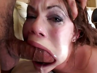 Sexy Gia Paloma deep throats and gags on huge hard cocks till her face is coverd