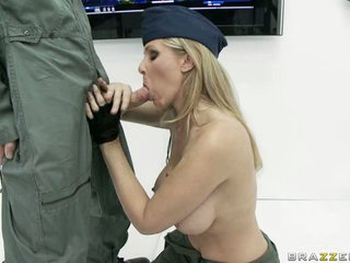 Cock sucking bitch Julia Ann is having a great taste of the lucky man's sausage