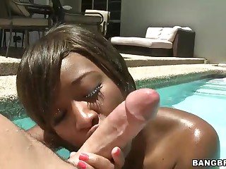 Young black girl Imani Rose with tight ass takes on white cock in the sun. She gives blowjob in the pool and then gets her brown hole pounded. There nothing hotter than sex right in the sun!