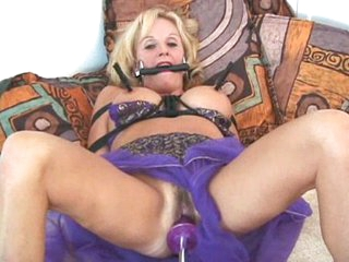 Bound mature with dildo