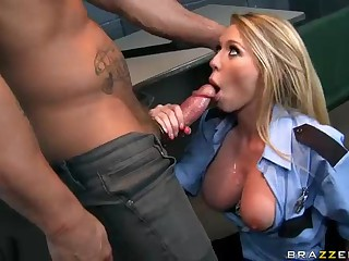 Busty officer Brynn Tyler taking big cock