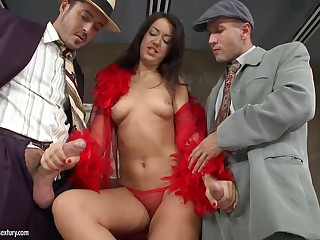 Lady in red Malaya gets double dicked by two gents