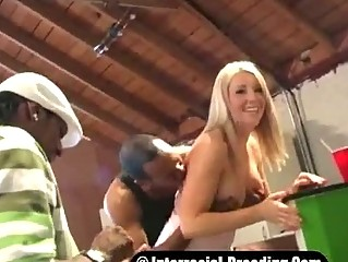 White Whore Barbie Knockedup By 2 Black Thugs