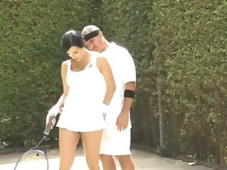 beautiful busty babe get tenis lesson