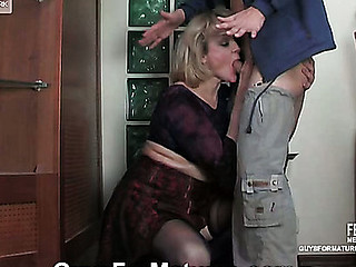 Dressed to kill blond oldie getting groped and banged from behind by a guy