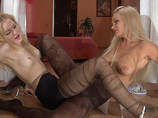 Nylon insane gals wear several pairs of hose for hotter lesbo sensations