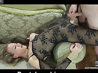 Sassy gal flaunts in a black open crotch bodystocking hungry for some meat