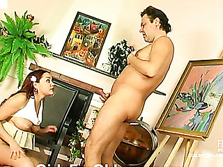 Breasty youthful chick calling up an old plumber to fix her dripping wet cum-hole