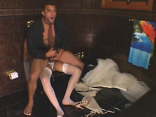 Mischievous shemale bride and her horny groom enjoying anal wedding sex