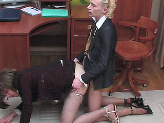 Sexy sissy guys getting down and filthy during the time that gazoo-fucking right in the office