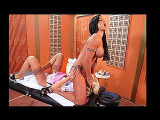 Jewels will be getting a massage. That Babe's very tough and bitchy. Jazy is her masseuse, that babe's very soft but Jewels wants it harder. This Babe asks her to put some muscle into it and gets angry when Jaze doesn't. Jazy makes a comment about her and this sets Jewels off. That Babe throw her on the massage ottoman and train her how to satisfy a customer.