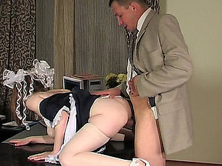Sweet looking French maid cleaning office and getting nailed by the old PHD