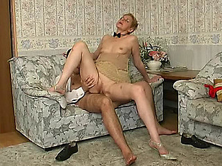 Aged blond getting her old snatch licked and dicked hard by a sissy guy