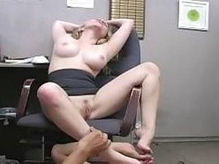 Office slut makes the janitor lick her sweaty armpit & feet