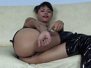 Brunette eats cock and then gets her tight ass banged hard