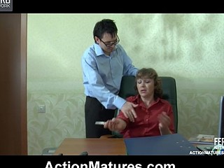 Older lady-boss having a hardcore session with her juvenile and hung employee
