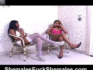 Lewd shemale getting beneath anal onslaught in wild shemale-on-shemale action