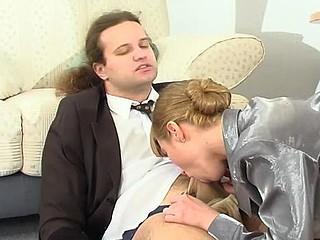 Well-hung boss lured by his sec into frenzied hose engulf-n-fuck action