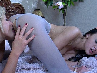 Topless lez girlfriends sensually grind and take up with the tongue their pantyhosed crotches