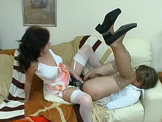 Horny sissy guy getting his buns widen wide with huge strap-on of lewd gal