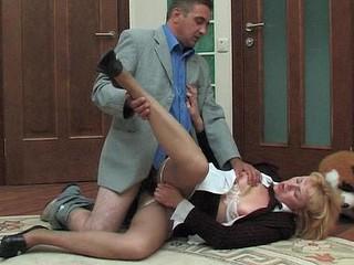Horny secretary in silky hose prefers smoking mighty dick to cigarette