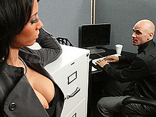 Johnny is trying to concentrate at work, but that guy can't aid but be distracted by his co-worker, Mya's large sexy love bubbles and the provocative way that babe dresses. Frustrated by his inability to pay attention at the office, this chab complaints to his supervisors. Angry and hurt, Mya uses her luscious large titties to persuade Johnny to take action that's not so legal...