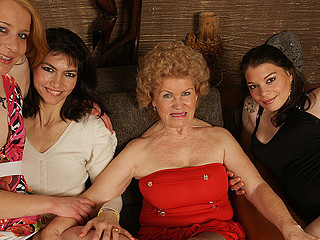 Four horny old and youthful lesbian babes make it peculiar