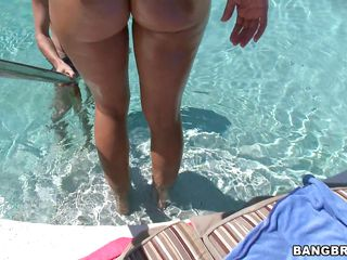 Rachel Starr was going for a swim when hey hello says that guy to her with his cock in her mouth. Damn is this the biggest bitch I've ever seen? I bet she is. Watch her body going out from the water and showing off her nice curves. Look at her going up and down for that blowjob like a real whore.
