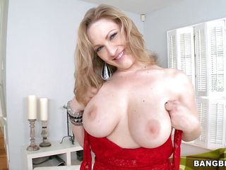 Vicky Vixen is a mature blonde lady with big tits big round ass sexy legs and a little pink shaved pussy. She strips off and starts fingering herself and massaging her sexy body. In the end a new guy appears and starts licking her sweet cherry thinking he would get to bang her real hard later.