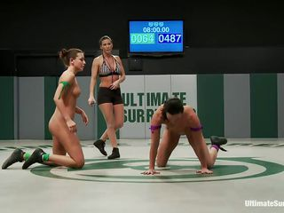 Hot naked bitches are starting this round down. They have eight minutes for the final wrestling round. The sluts have to be in control and also touch each other`s tits or pussies. They struggle to escape from sexy clutches and to leave the impression that they don`t enjoy being licked and touched by the other!