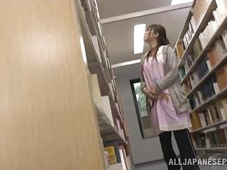 It's a normal library with an ordinary girl that's looking for a good book until something happened. This horny guy got wild seeing her body and he decided to grab and use her right there between those bookshelves. The pretty Nippon girl obeyed and discovered that she likes her situation, surely this is better then reading