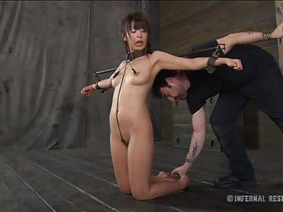 Marica is a cute asian slut and you know how these bitches like to scream way to much then they have to. Well this guy gives her some reason to do it and attached clamps on her nipples, raised her on the feet and then inserted a metal hook in her anus. She better look out how she moves with that hook in her ass
