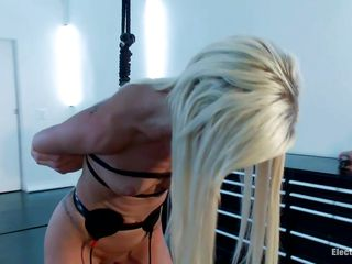 Maia Davis is a cute blonde milf who likes being tied up in bondage. The sex slave has electrodes all over her sexy body. She loves when she has a vibrator put on her pussy. Watch her screaming with pain and pleasure as she gets aroused by Aiden Starr, an experienced hot babe with a gorgeous body.