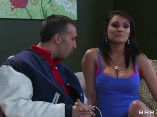 Look at this hot brunette with big tits and at Keiran Lee and how excited he gets when she tells him he can do what ever she wants with her. Look at him how he takes ice cubes and puts them on her hard nipples. After licking her nipples she takes his pants off and starts sucking his hard cock.