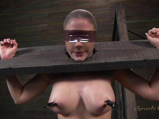 Clamps with weights were attached on her big boobs and duct tape was used to blindfold her. Now she stays there in that bondage device and has a rodeo sex machine underneath her that's rubbing her shaved pussy. To make things interesting an executor comes and deeply mouth fucks this slut girl, chocking her with cock
