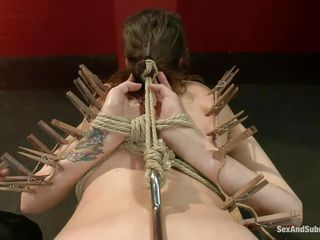 Milf bitch Luna sits with a hook in her ass, while getting dominated by her master James, who sticks a bunch of clothespins on her tight skin. With a collar around her neck, she spreads her legs and get fucked from behind by her hard master. Having her ass spanked, they are both going to cum soon!