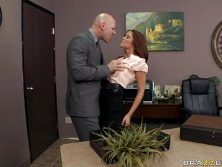Look at that hot redhead slut kissing her boss with her juicy lips and getting undressed. Look at her big tits, her long hair, her hot body and her hard long nipples while ha plays with them. Is she going to get some cock in that dirty mouth of her?