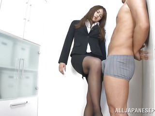 Sumire is a sensual, hard working Japanese milf. She has a respectable business going on but sometimes Sumire doesn't know the meaning of respect. She has one of her employees standing there in his boxers and playing with his cock before sucking it. This corporate hottie is acting like a whore!
