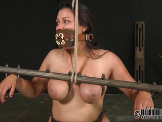 Dana is a dirty slut and deserves what's happening to her. They've tied her on that chair and secured her body in bondage devices. Now that she's immobilized a mistress plays with her shaved pussy and taunts the whore before things will get really rough for her. Relax and enjoy what they do to this cheap bitch