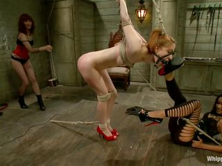 Calico is a brown haired beautiful girl with hot body who likes being tied up in bondage. Having a ball gag in her mouth, she moans in pleasure as the two gorgeous milfs Maitresse Madeline and Skin Diamond are there to punish her. They enjoy fingering her pussy and rubbing it with a big vibrator.