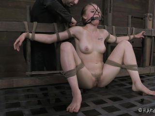 Sweet Tracey is hard tied and punished even harder. Her thighs are spread and tied roughly with rope, that pretty mouth of her is gagged and clamps are attached on her pink, fragile nipples before some pussy rubbing. Do you think she deserves more humiliation and a harder treatment until she cries?