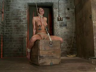 Watch this sexy whore, her name is Aleska and those pair of perfect boobs surely got your attention and her executor's too. She has clamps with weights on her hard nipples and is tied up hard and suffocated slowly as the rope around her neck doesn't gets looser. Aleska stays there, immobilized in that position and endures her punishment moaning as a vibrator is placed right between her hot spread legs, on her pussy.